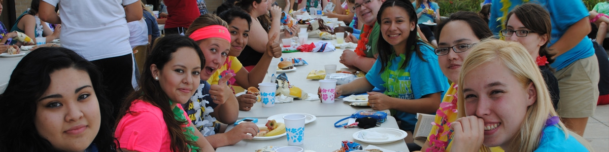 Students eating at a block party